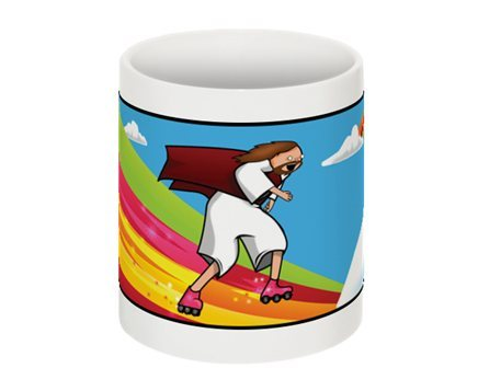 Jesus Rollerblading Christ Coffee Cup