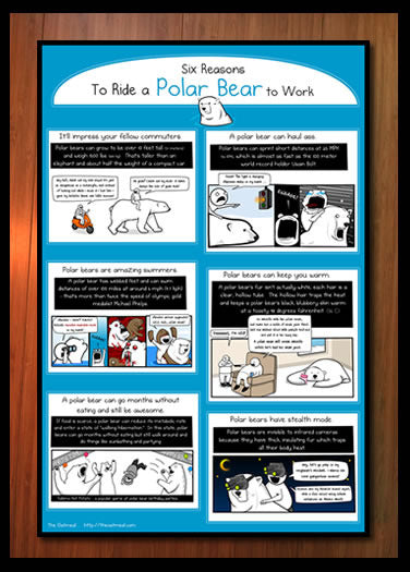 6 Reasons to Ride a Polar Bear to Work - Unsigned Print