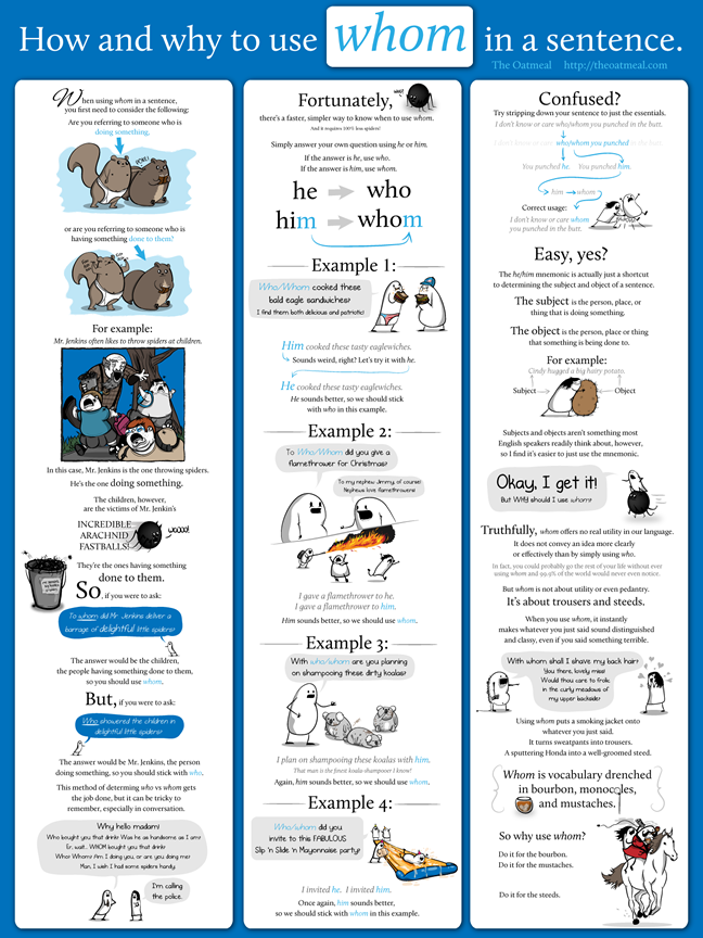 How and Why to Use Whom in a Sentence poster – The Oatmeal