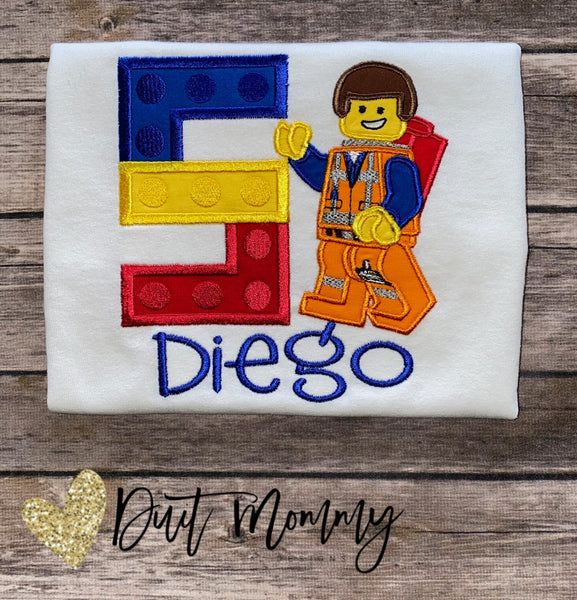 LEGO Birthday Shirt | LEGO Movie Embroidered Party Shirt