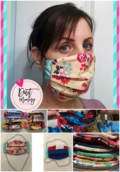 Face Masks | Double Layer 100% Cotton | Pleats & Back Pocket for Additional Filter