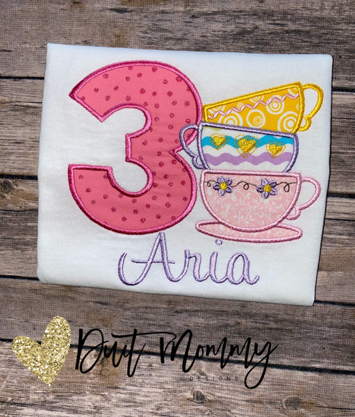 Tea Party Birthday Shirt | Tea Party Theme Birthday | Embroidered | Tea Cups Shirt