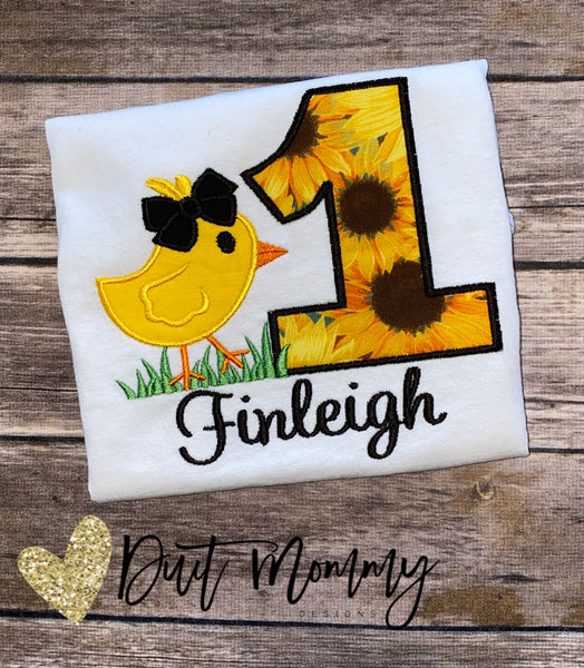 Sunflower Farmhouse Birthday Shirt | Farmhouse Chick Party | Embroidered | Chick Sunflower Shirt