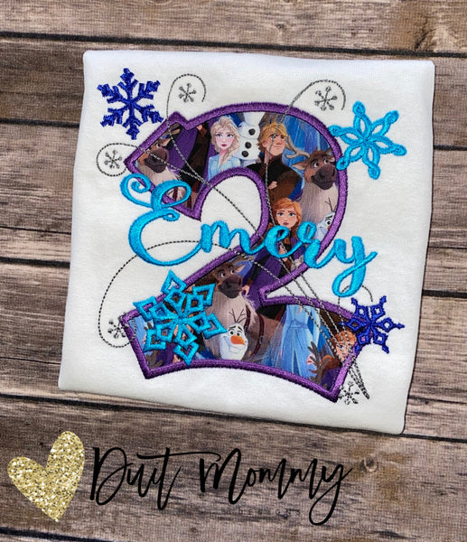 Frozen Birthday Shirt | Anna Elsa Party | Embroidered | Frozen Party Shirt