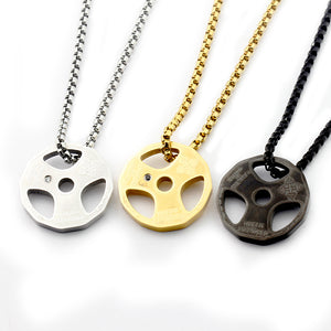 Titanium Stainless Steel Weight Plate Necklace