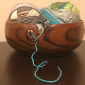 "Large Jujube Wooden Yarn Bowl  - 8"" x 3"" x 8"""