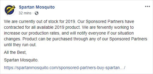 Spartan Out of Stock for 2019