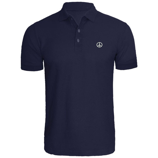 Mens Peace Symbol Embroidery Embroidered Polo Shirts