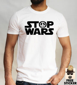 Stop Wars T shirt Star Wars Parody Political Peace Symbol Mens Gift Top S - XL Free shipping