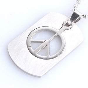 free shipping Square tag anti war peace symbol 316L Stainless Steel pendant necklaces bead chain for men women wholesale