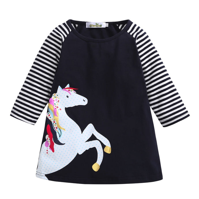 Horse Stripe Print Princess Party Dress - Babystation Drive