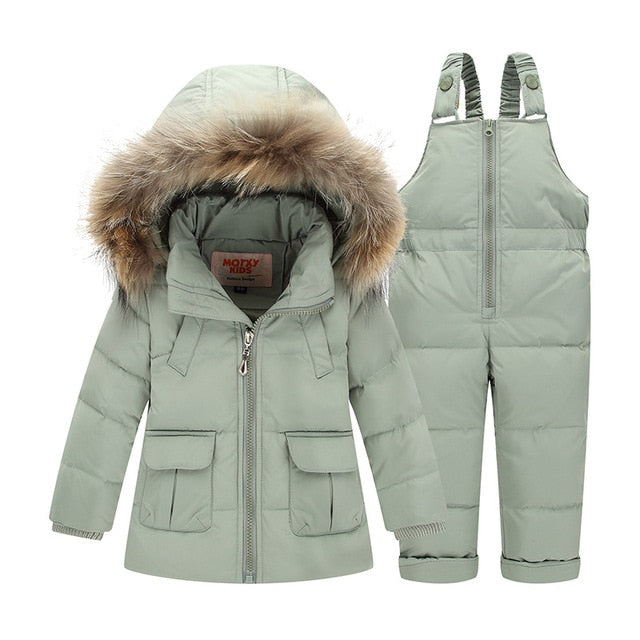 Parker Fur Hooded 2 piece snowsuit set - Babystation Drive