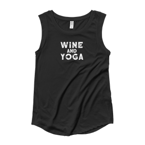 Wine & Yoga Ladies' Cap Sleeve T-Shirt