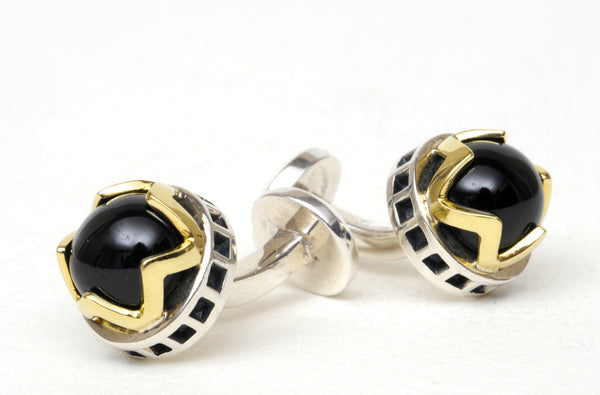 CROWN ONYX CUFFLINKS
