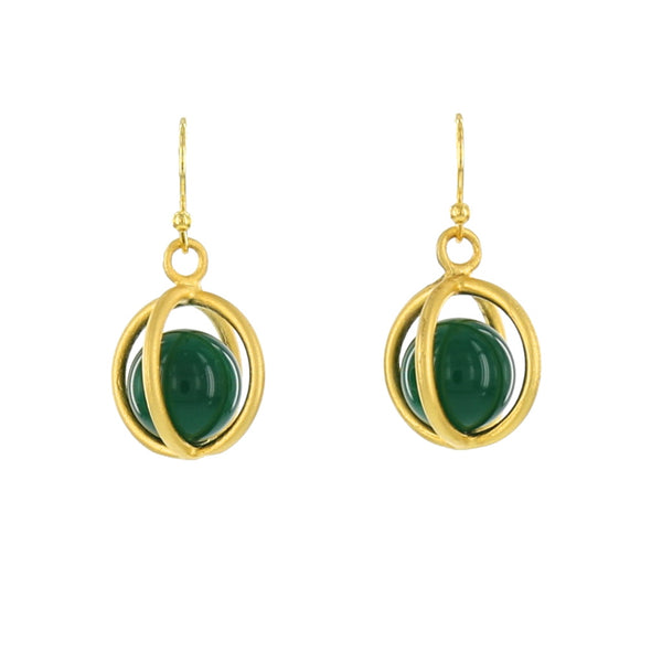 LARGE CAGE WITH GREEN ONYX SPHERE