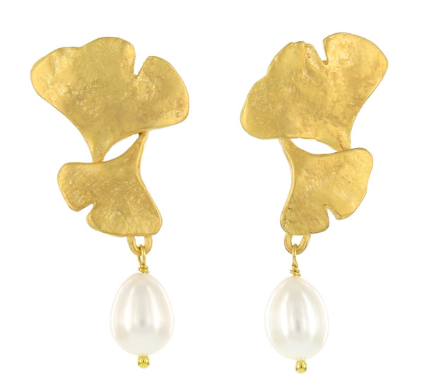 DOUBLE GINGKO WITH PEARL DROP