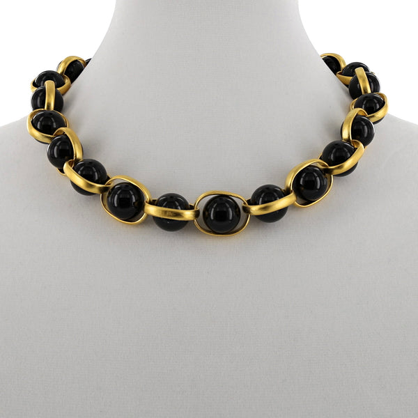 LINKED BEAD NECKLACE / BLACK ONYX
