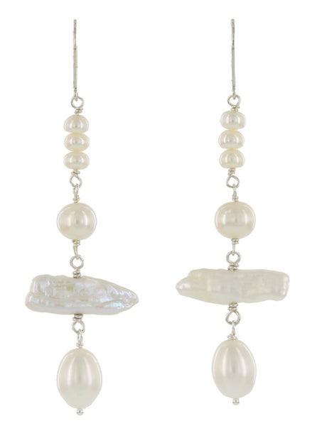 PAGODA LEVER BACKS / SILVER WITH PEARLS