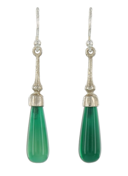 SOHO FRENCH WIRES / STERLING, GREEN ONYX