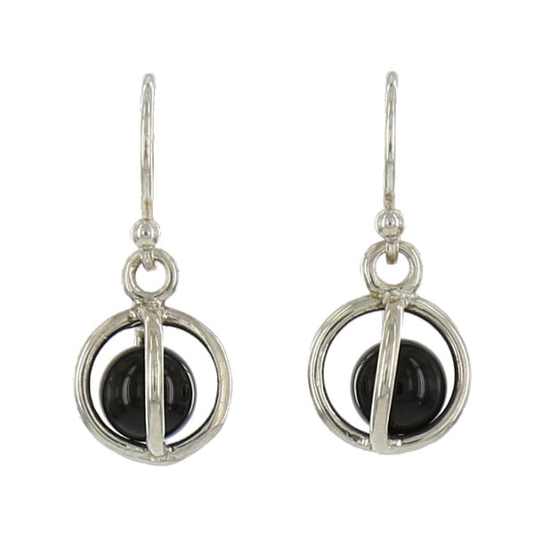 SMALL STERLING CAGES / BLACK ONYX