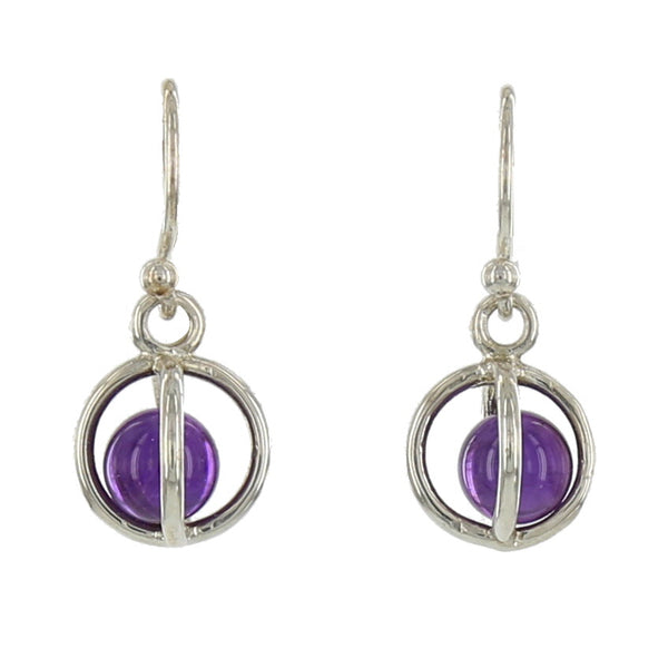 SMALL STERLING CAGES / AMETHYST