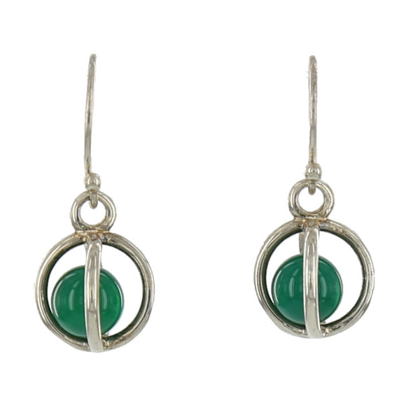 SMALL STERLING CAGES / GREEN ONYX