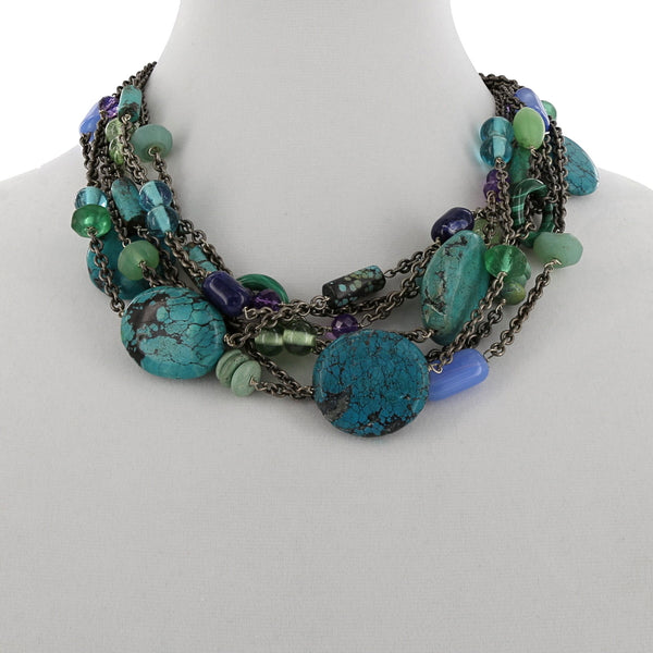 ONE OF A KIND SILVER / CHINESE TURQUOISE NECKLACE