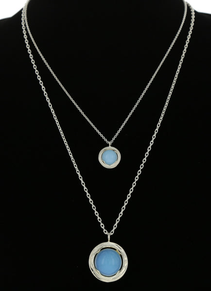 STERLING FRAME PENDANT WITH OPALITE / LARGE