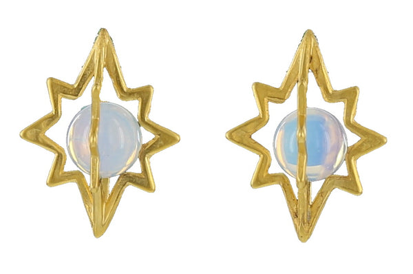 STAR CAGE STUD /  GOLD / OPALITE