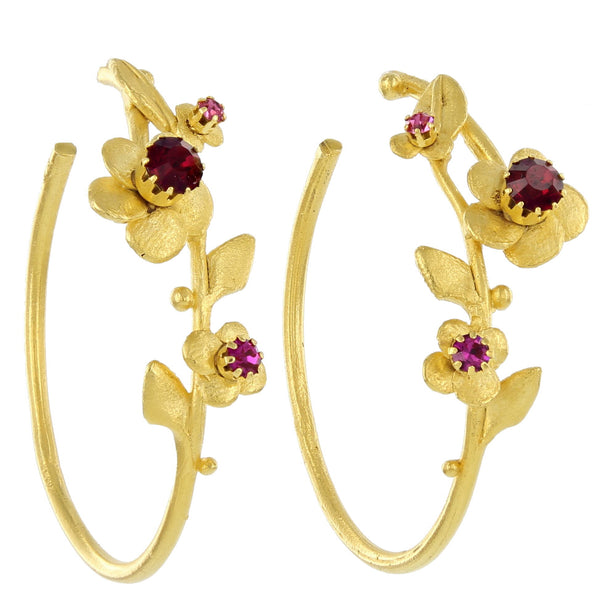 FLOWER HOOPS WITH STONES / RUBY