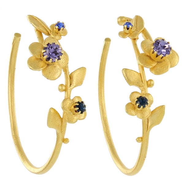 FLOWER HOOPS WITH STONES / TANZANITE