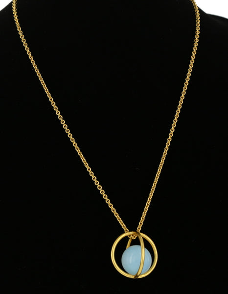 LARGE CAGE PENDANT / GOLD/ OPALITE