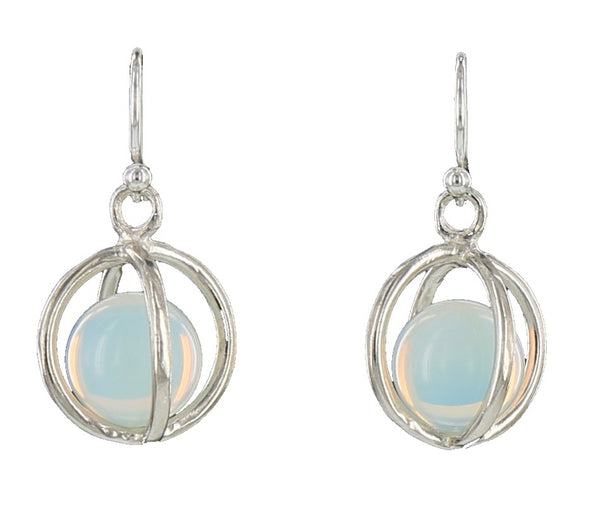 LARGE CAGE FRENCH WIRE / SILVER / OPALITE