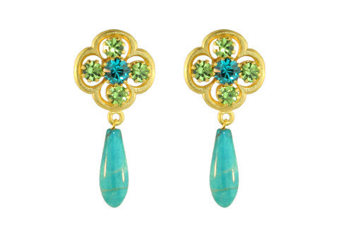 CLOVER POST WITH DROP / BLUE ZIRCON