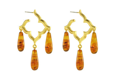SMALL GOTHIC HOOPS / AMBER