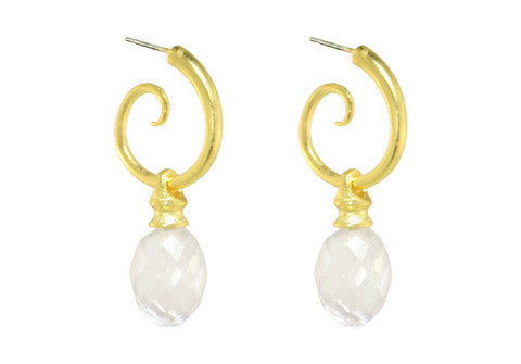 SPIRAL HOOPS WITH ROCK CRYSTAL DROPS