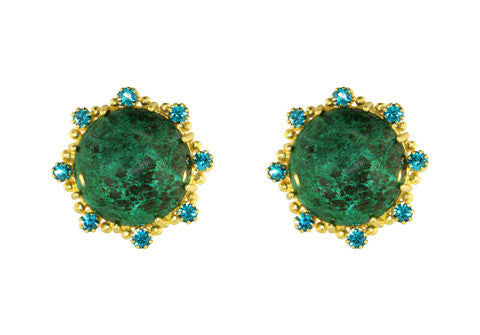 ROUND BUTTON CLIPS / CHRYSOCOLLA