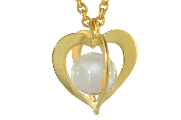 HEART- SHAPED CAGE PENDANT WITH ROCK CRYSTAL SPHERE
