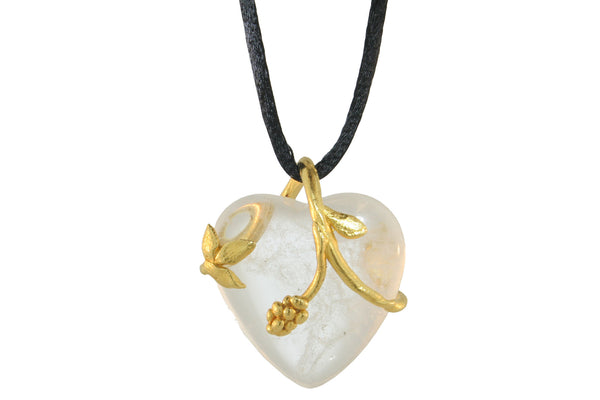 VINE PENDANT WITH ROCK CRYSTAL HEART