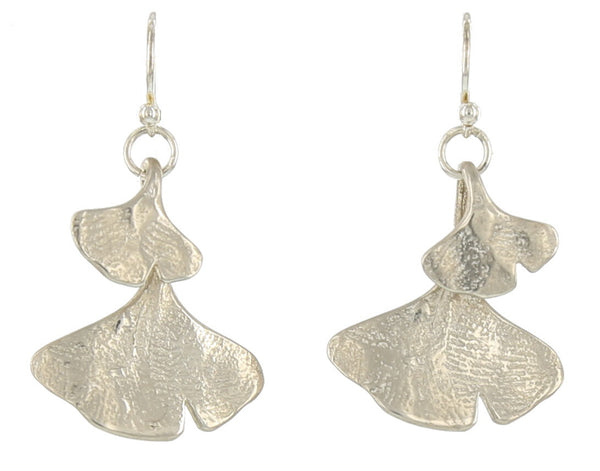 DOUBLE GINGKO FRENCH WIRE / SILVER / LARGE