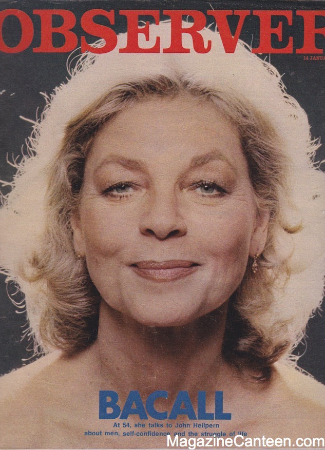 The Observer Magazine 1979 - Lauren Bacall