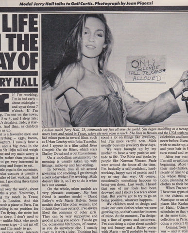 The Sunday Times Magazine - Jerry Hall - A life in the day