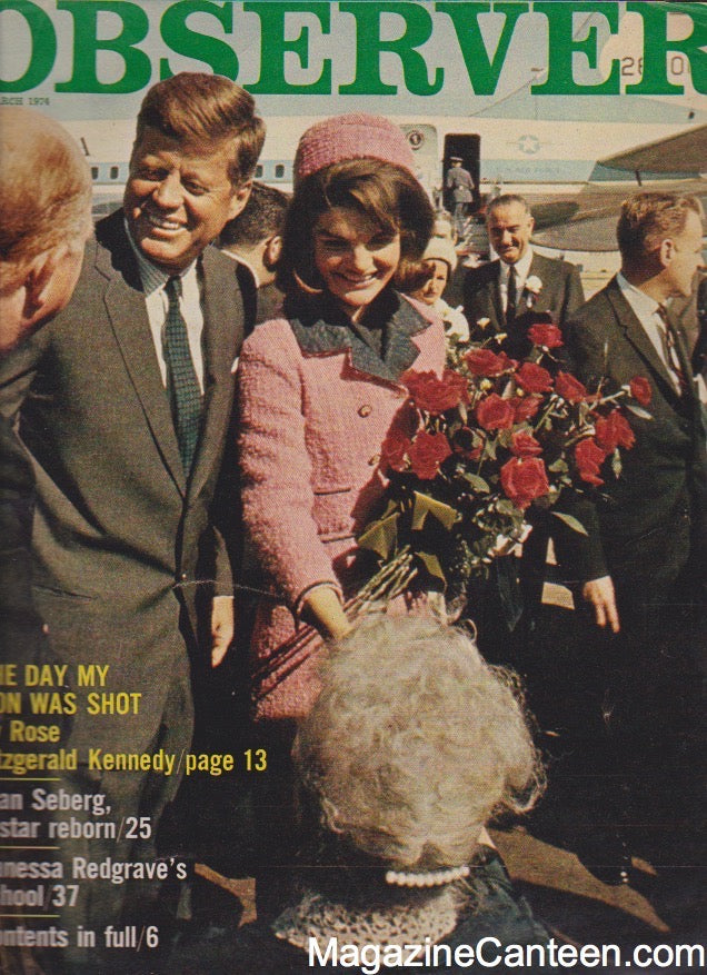 The Observer Magazine 1974 - Jackie Kennedy and JFK Jean Seberg