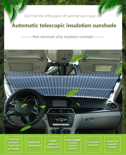 Car sunshade sunscreen insulation sunscreen automatic telescopic shadingCar windshield sun visor