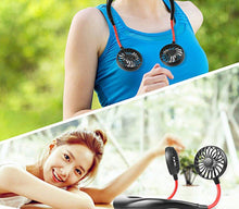 Load image into Gallery viewer, Hang neck usb student lazy fan charging hanging neck fan outdoor travel portable with hanging neck small fan