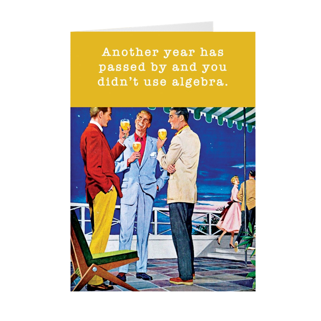 Another Year Without Algebra Funny Retro Birthday Card The Macaroni Print Shop