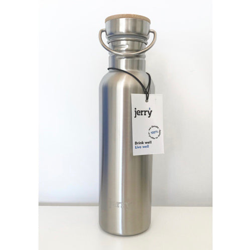 Save the Green Stainless Steel and Bamboo 750ml Jerry Bottle