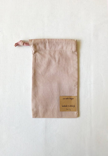 Naturally dyed upcycled cotton produce bag - Hibiscus
