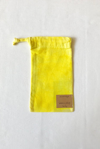 Naturally dyed upcycled cotton produce bag - Tumeric
