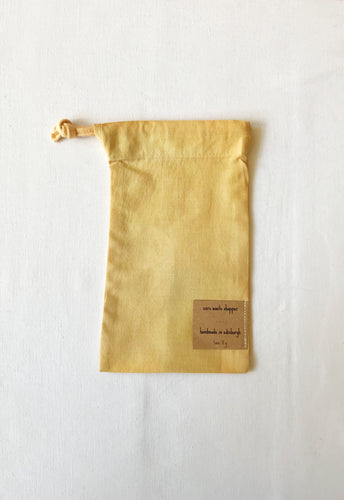 Naturally dyed upcycled cotton produce bag - Brown Onion